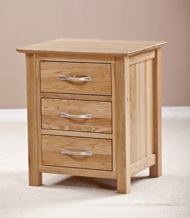 Cambridge Solid Oak 3 Drawers Bedside Table