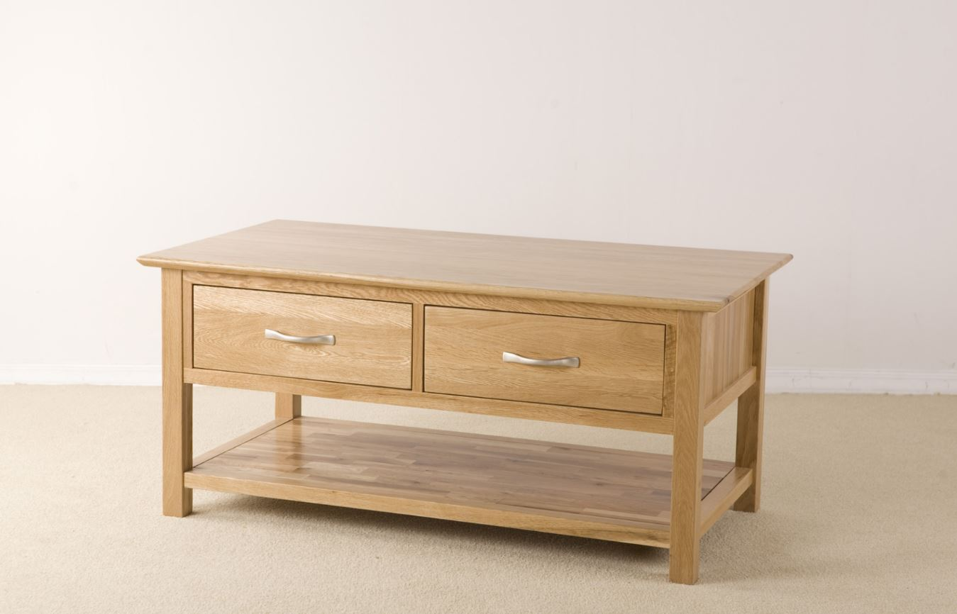 Cambridge Solid Oak Coffee Table With Drawers