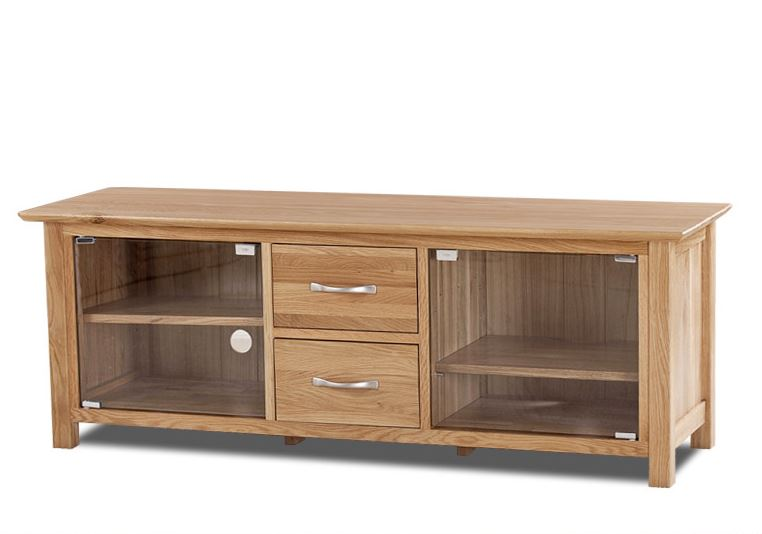 Cambridge Solid Oak Large TV Unit With Glass Doors