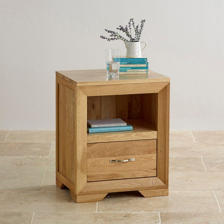 Chamfer Natural Solid Oak 1 Drawer Bedside Table