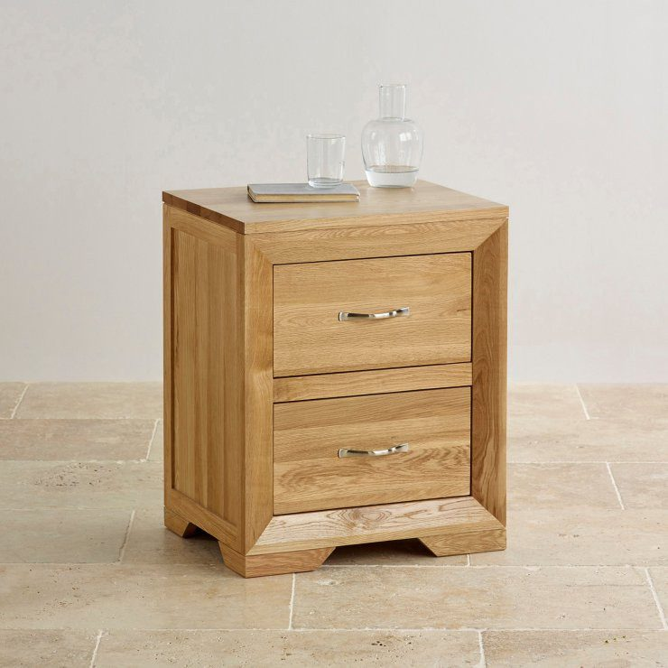 Chamfer Natural Solid Oak 2 Drawers Bedside Table