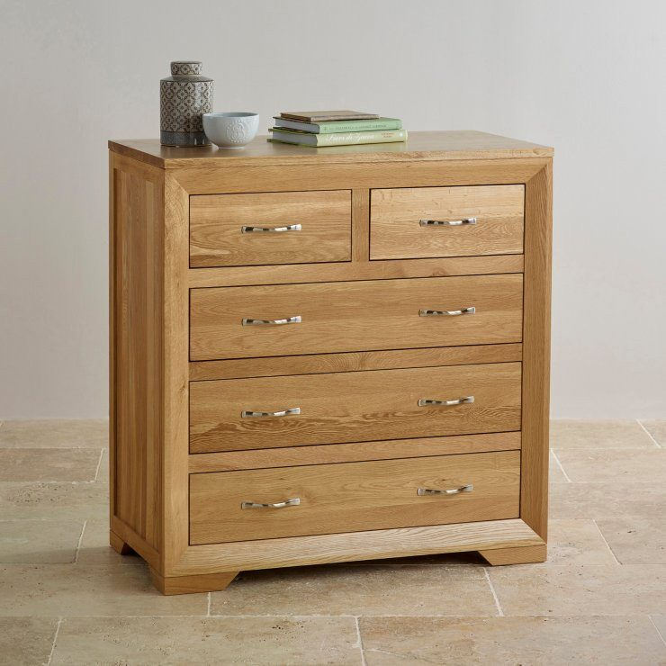 Chamfer Natural Solid Oak 2 over 3 Chest