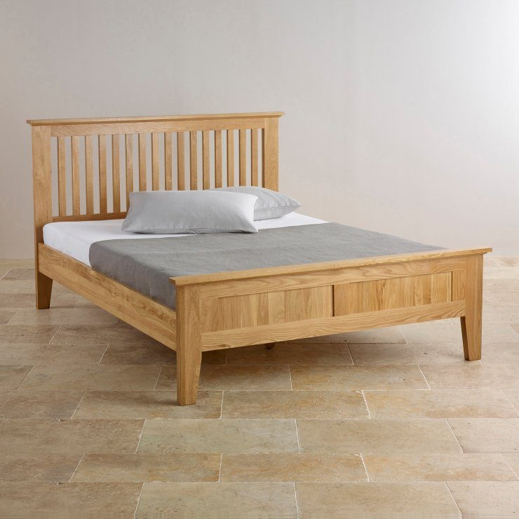 Chamfer Solid Oak Queen Size Bed