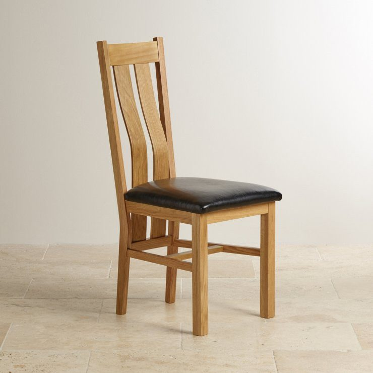 Chamfer Natural Solid OAK Dining Chair PU pad