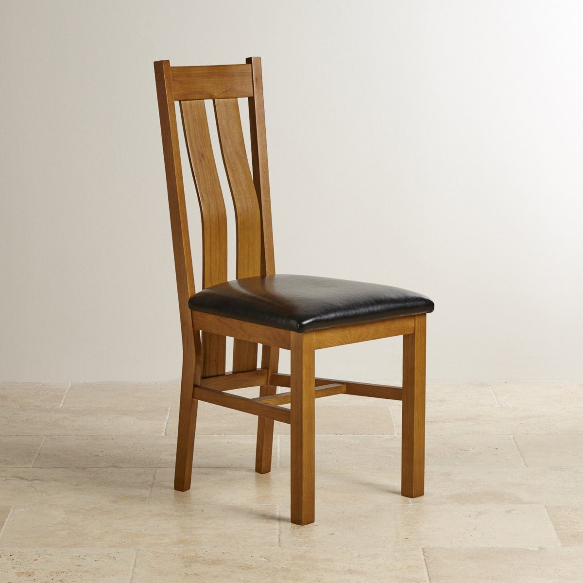 Chamfer Rastic Solid OAK Dining Chair PU Pad