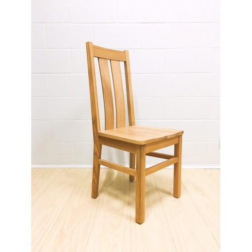 Chamfer Natural Solid OAK Dining Chair Oak Padding