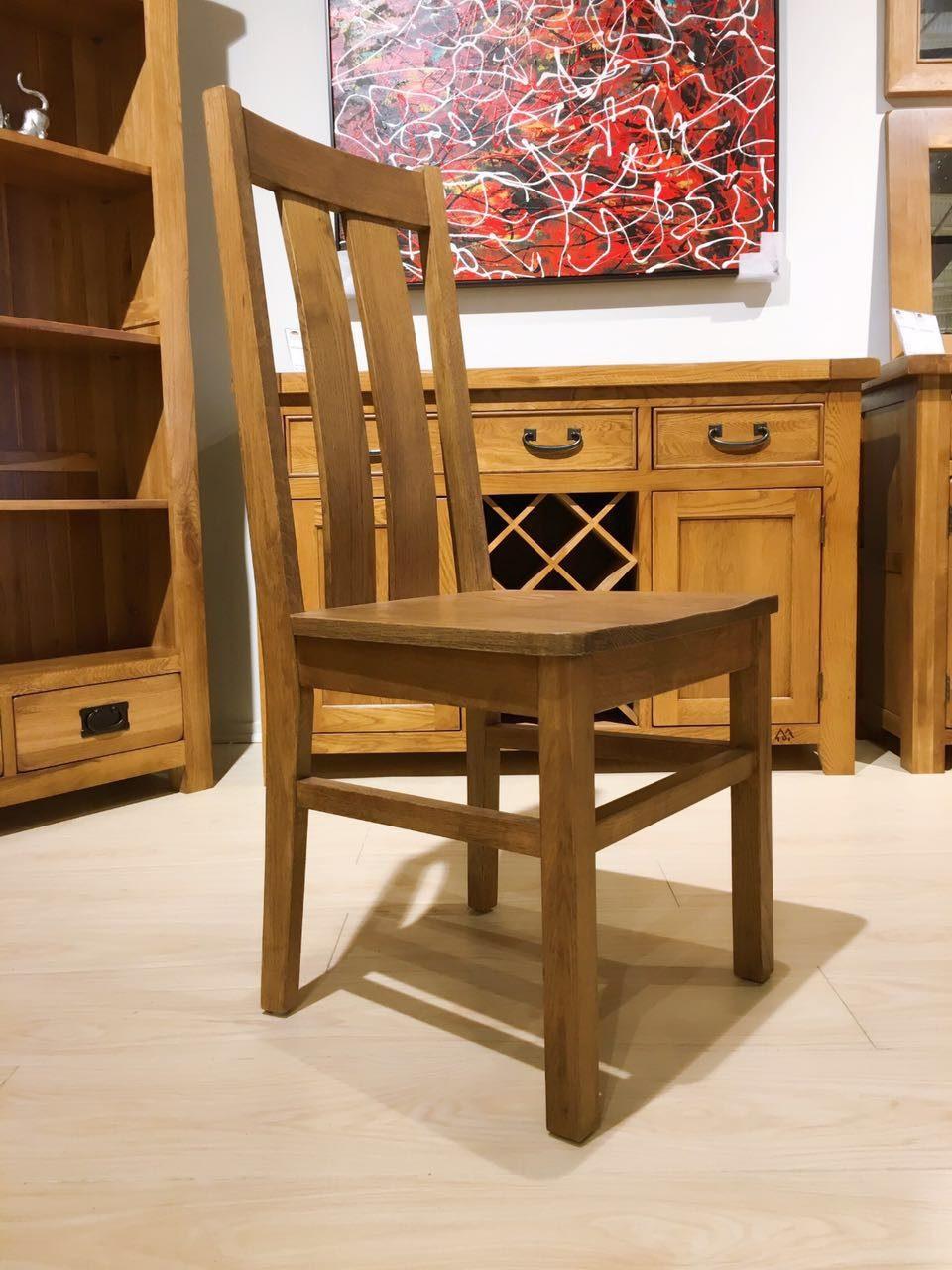 Chamfer Rastic Solid OAK Dining Chair Oak Pad