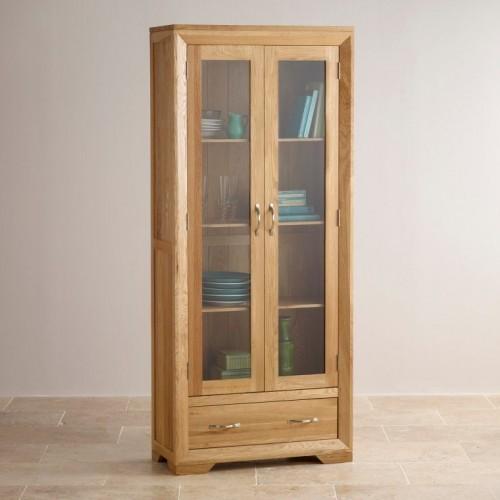 Chamfer Natural Solid Oak Glazed Display Cabinet