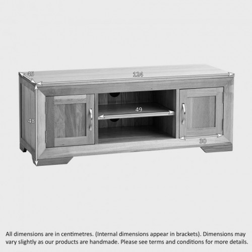 Chamfer Natural Solid Oak 2 Doors TV Unit