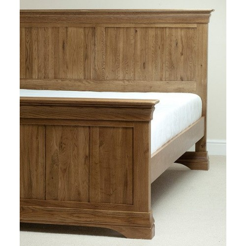 French Rustic Solid Oak King-Size Bed