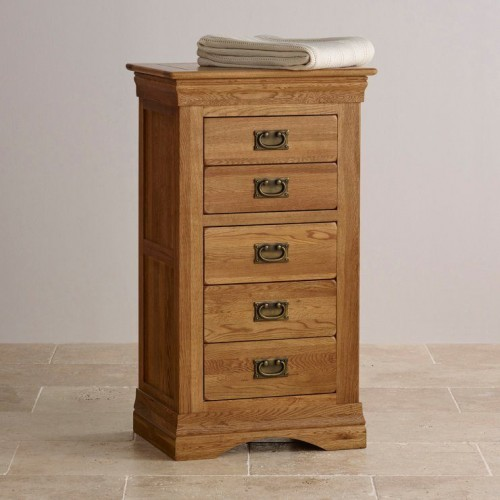 French Rustic Solid Oak 5 Drawers Wellington