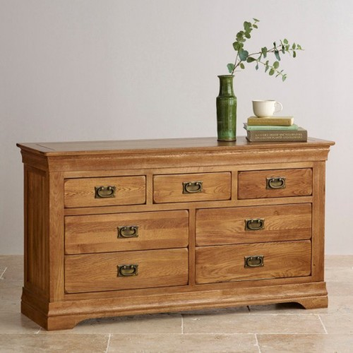 French Rustic Solid Oak 3+4 Chest Of Drawers