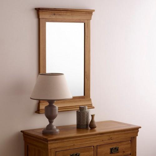 French Rustic Solid Oak Mirror