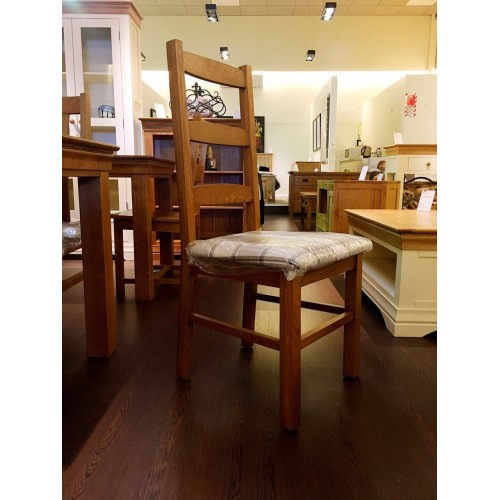 French Rustic Dining Chair With Fabric Pad