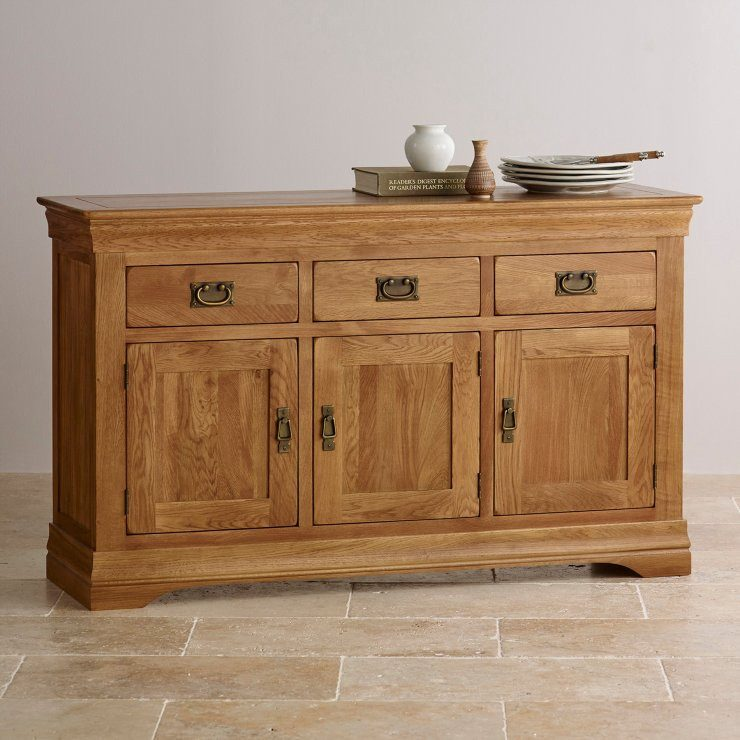 French Rustic Solid Oak Large Sideboard