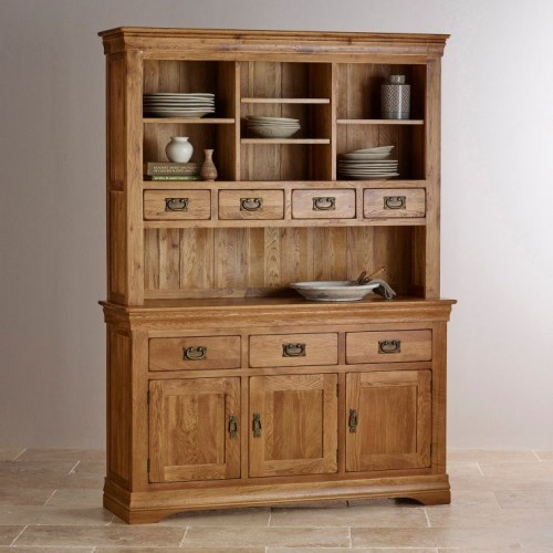 French Rustic Solid Oak Large Sideboard With Hutch Dresser