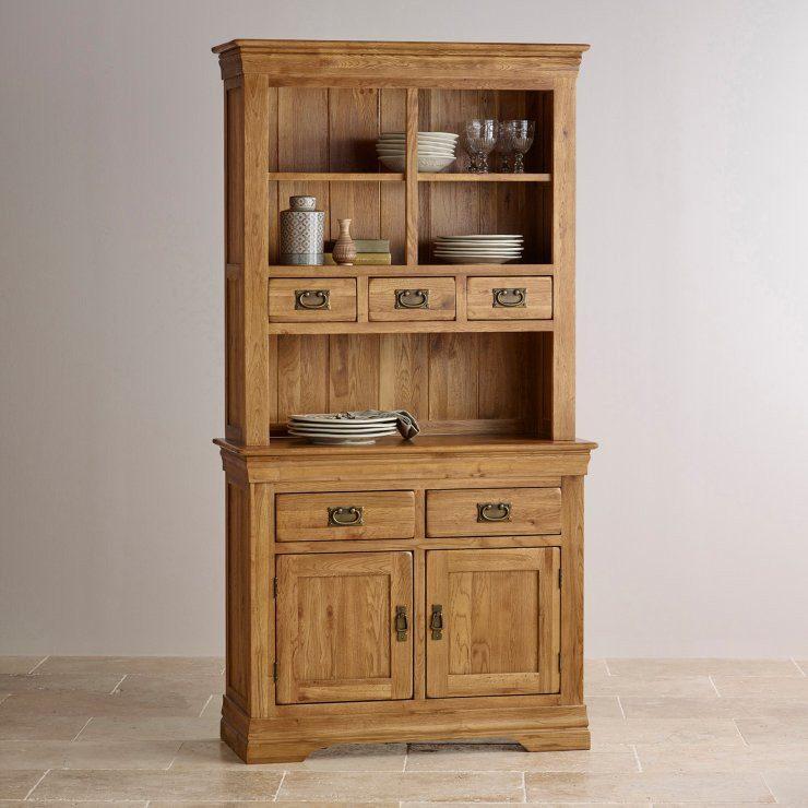 French Rustic Solid Oak Hutch Dresser