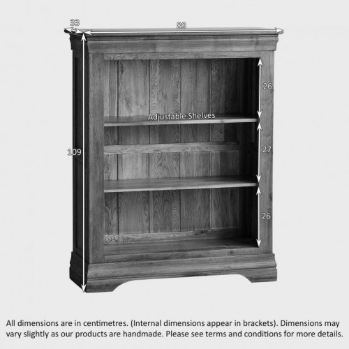 French Rustic Solid Oak Small Bookcase