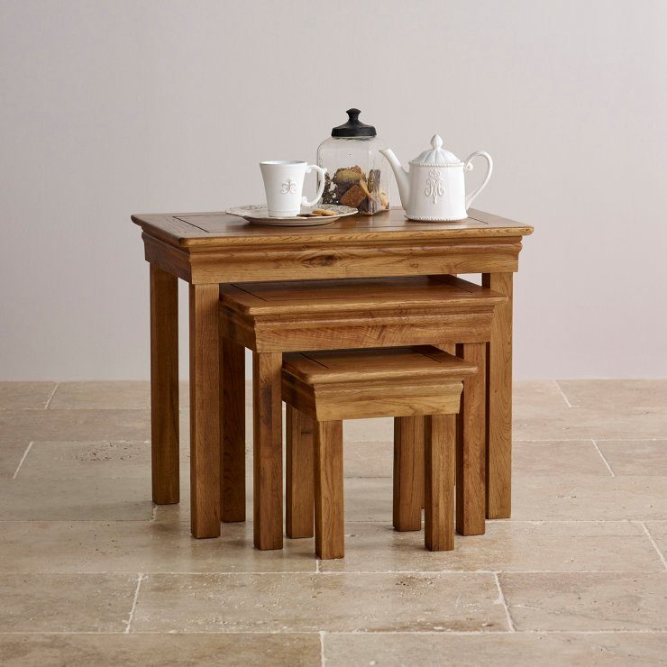 French Rustic Solid Oak Nest of Tables