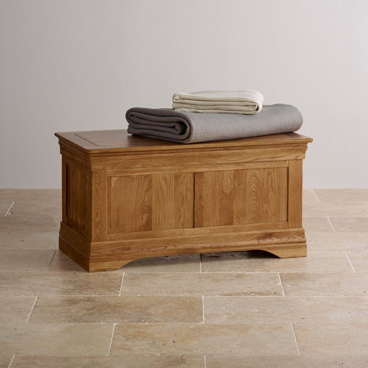 French Rustic Solid Oak Blanket Box