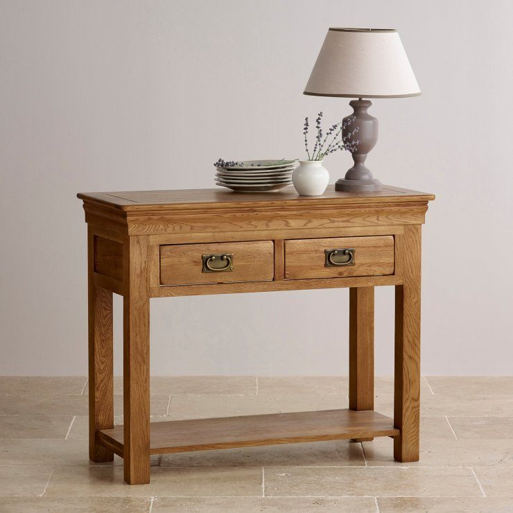 French Rustic Solid Oak Console Table