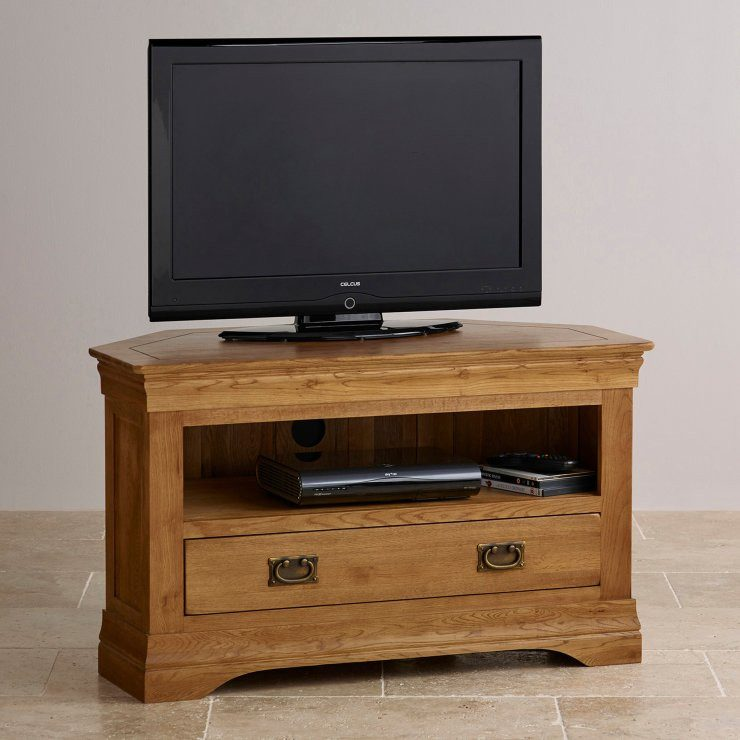 French Rustic Solid Oak Corner TV Cabinet