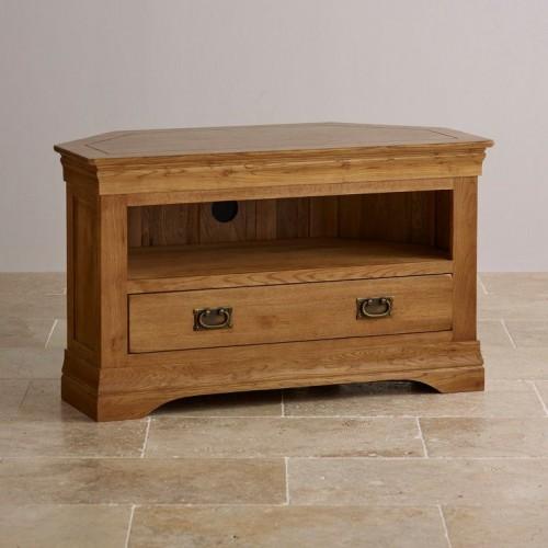 French Rustic Solid Oak Corner TV Cabinet